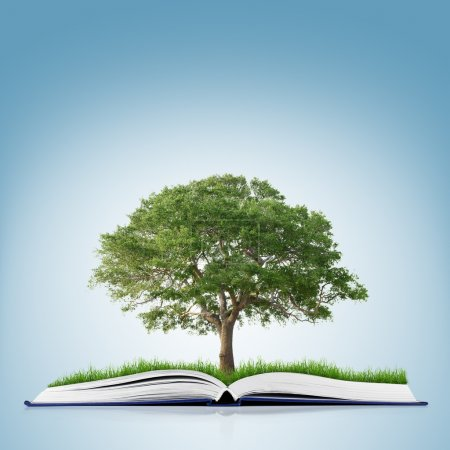 Book with grass and tree