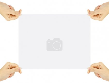 Photo for Blank business card or page in hands isolated on white - Royalty Free Image