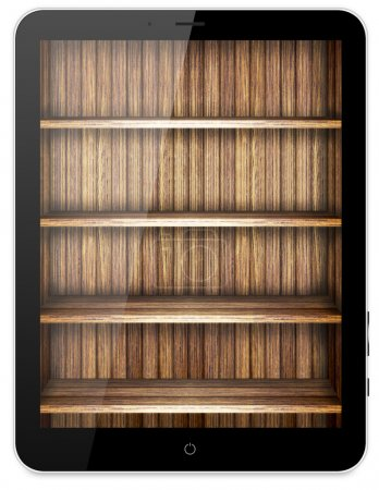 Tablet with wooden bookcase