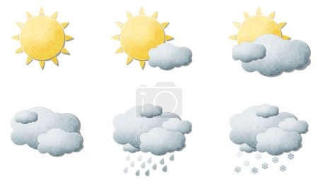 Photo for Weather signs of grunge recycled paper craft stick on white background - Royalty Free Image