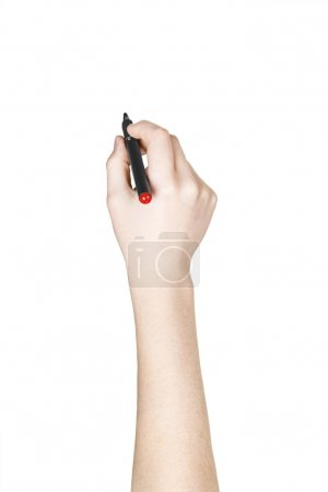 Photo for Hand with black marker to write over white background - Royalty Free Image