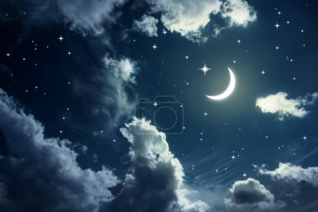 Photo for Night sky with stars and moon - Royalty Free Image