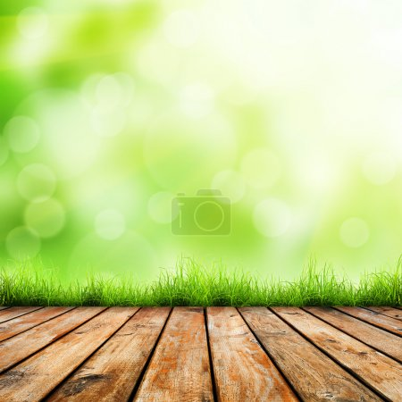 Grünes Gras und Holzboden.