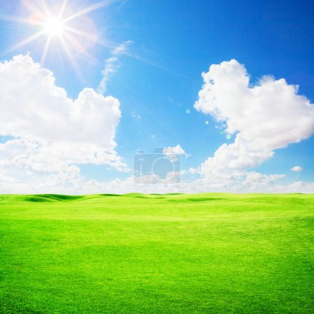 Photo for Green golf field under blue sky background - Royalty Free Image