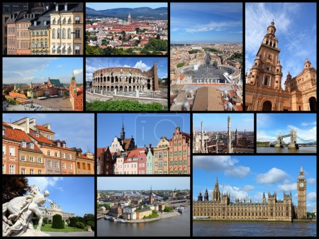 Photo for Photo collage from cities of Europe. Collage includes major cities like London, Rome, Stockholm, Vienna, Milan, Seville and Warsaw. - Royalty Free Image