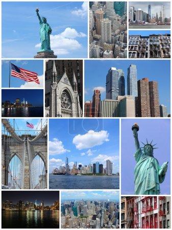 Photo pour Montage photo de new york city, États-Unis d'Amérique. collage comprend les principaux monuments comme la statue de la liberté, manhattan skyline et brooklyn bridge. - image libre de droit