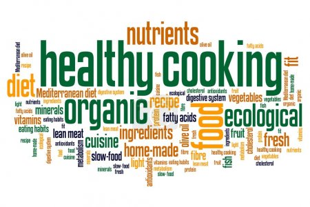Photo for Healthy cooking and slow food diet concepts word cloud illustration. Word collage concept. - Royalty Free Image