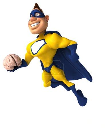superhero holding brain