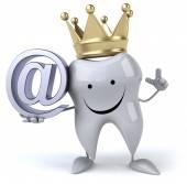Zub v koruně s e-mailem