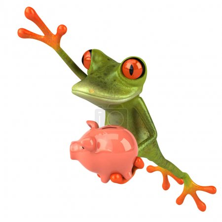 Fun frog with piggy bank