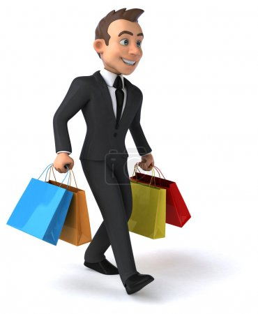 Fun businessman with shopping bags