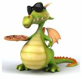 Zábavné kreslené drak s pizzou