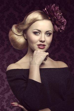 close-up of elegant girl, vintage