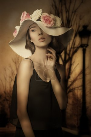 lovely girl with spring hat