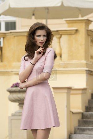 cute outdoor girl in pink