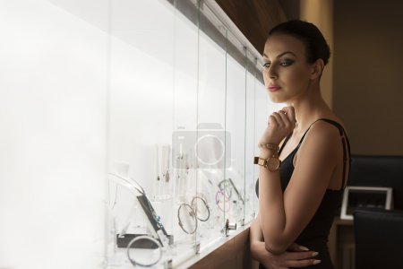 beautiful girl in a shop jewellery .