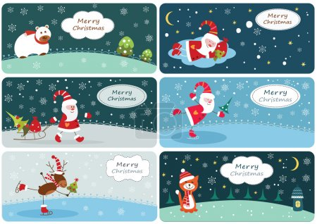 Illustration for Set of Christmas banners with cute hand drawn elements - Royalty Free Image