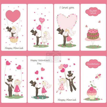 Illustration for Set of flayers for Valentines Day - Royalty Free Image