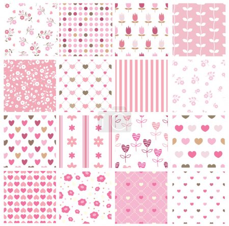 Illustration for Set of abstract seamless pattern with hearts, stripe, polka dots and floral elements - Royalty Free Image