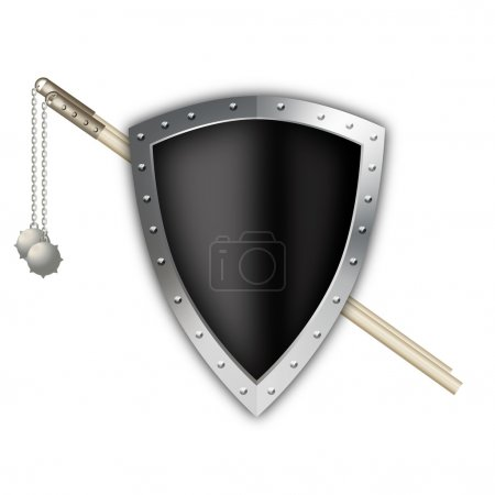 Black shield with maces.