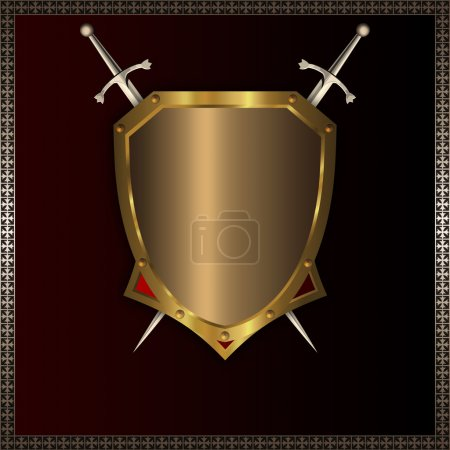 Gold medieval shield for the design.