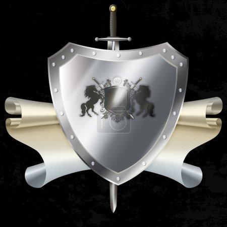 Photo pour Bouclier argenté riveté avec des branches de laurier et cheval et épée héraldiques sur le fond noir grunge. - image libre de droit