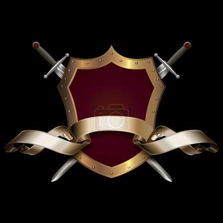 Photo pour Bouclier rouge avec la frontière rivée d'or, deux épées et le ruban d'or sur le fond noir. - image libre de droit