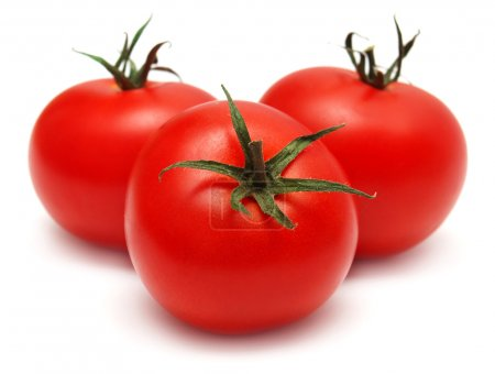 Photo for Three tomatoes isolated on white background - Royalty Free Image