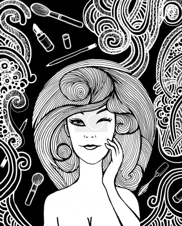 Hipster Woman and Make-up set d,drawing doodle style