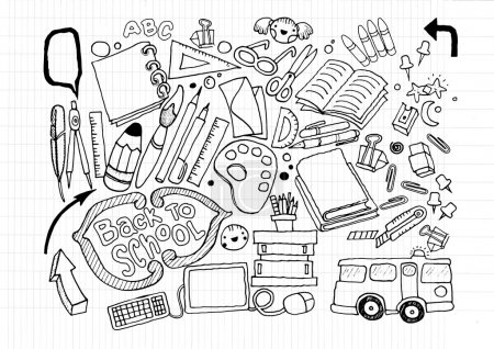 Hand drawn doodle stationery set, illustrator line tools drawing