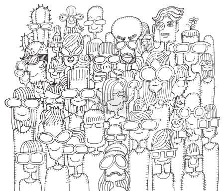Illustration pour Hipster dessiné à la main Doodle foule de gens heureux dans les lunettes de soleil.Illustration vectorielle . - image libre de droit