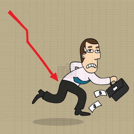 Cartoon businessman shocking down arrow and downturn economic cr