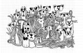 Hipster Pet doodles Backgrounddrawing styleNotebook Doodle Design Elements on Lined Sketchbook Paper Illustration