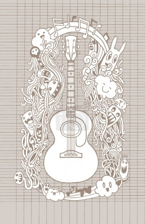 Hand drawing Doodle acoustic guitar,Flat Design