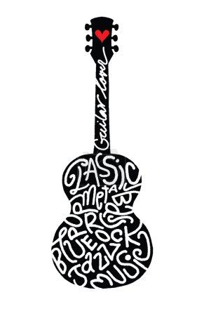 Illustration pour Main, dessin guitare acoustique Doodle, illustration de Design.Vector plat - image libre de droit