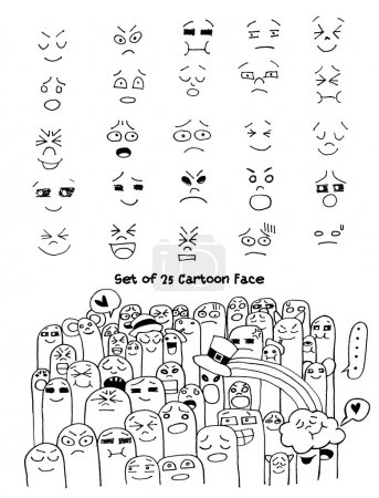 Set of hand drawn funny faces. Happy faces,for com...