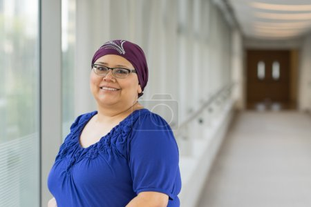 Breast Cancer Patient Wearing Hair Cap
