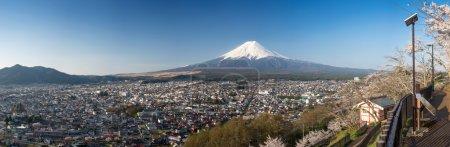 Beautiful panorama view of Mountain with cherry blossom in spring, Chureito Pagoda  Fujiyoshida, Japan