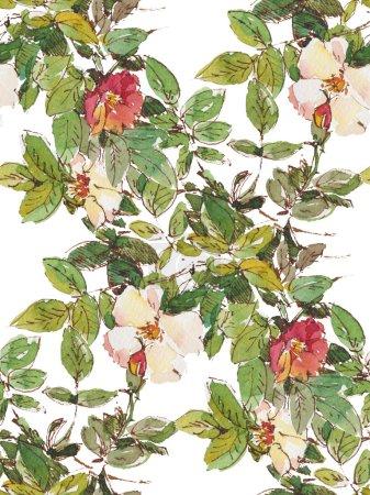 Photo pour Modèle sans couture avec des fleurs d'aquarelle sur le fond blanc - image libre de droit