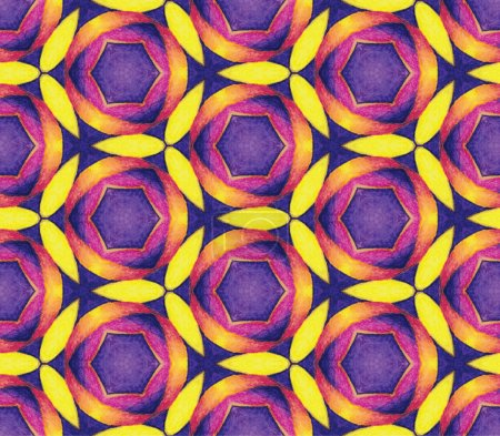 Photo for Watercolor illustration. Drawing watercolor pencils. Bright symmetric ornament. Seamless pattern - Royalty Free Image