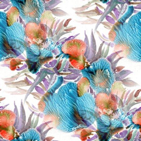 Photo pour Modèle sans couture à fleurs dans le style de doodle. Illustration aquarelle. - image libre de droit