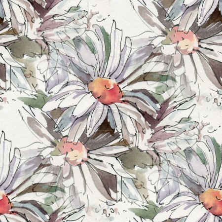 Pattern with watercolor flowers.