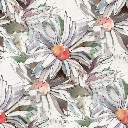 Photo pour Modèle sans couture avec aquarelles fleurs. Croquis de l'encre de marguerites et aquarelle. - image libre de droit