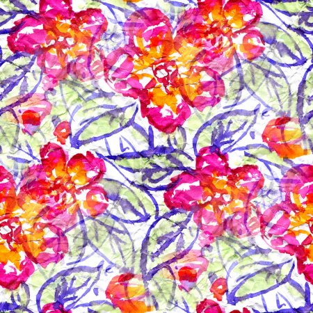 Photo for Seamless pattern with watercolor flowers. - Royalty Free Image