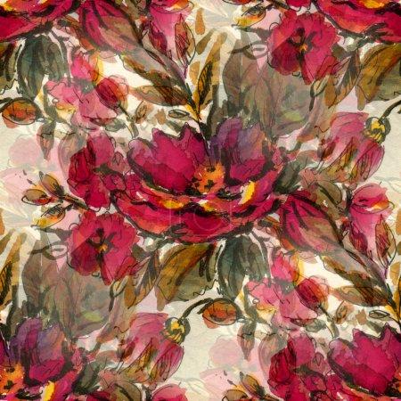 Photo pour Modèle sans couture avec des fleurs aquarelle rouge - image libre de droit