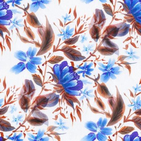Photo pour Modèle sans couture avec des fleurs bleues sur fond blanc. Illustration aquarelle . - image libre de droit
