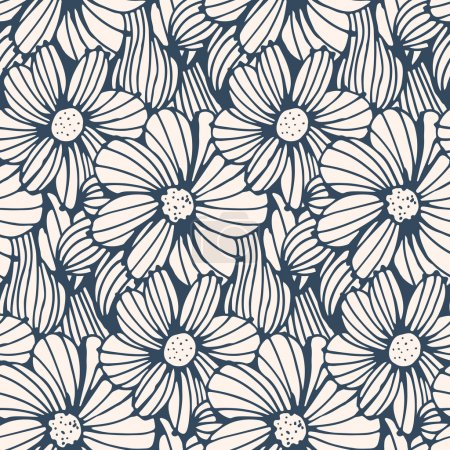 Black and white  flower background.