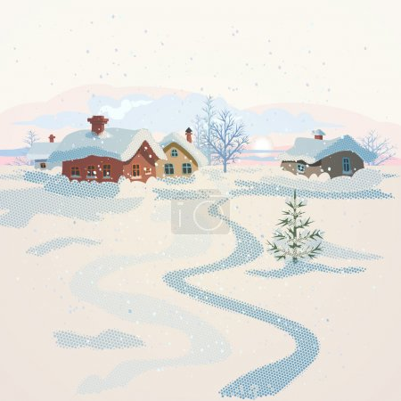 Winter landscape with small village at sunset