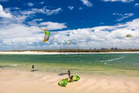 Multiple kite surfers at Bulcock