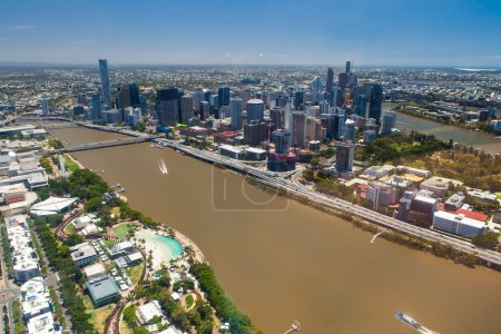 Aerial image of Brisbane River, City and South Bank, Queensland